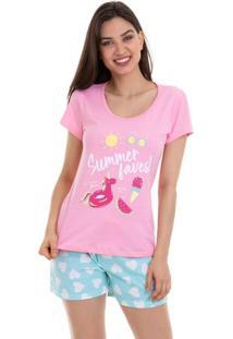 Pijama Short Doll Manga Curta Summer Faves Luna Cuore