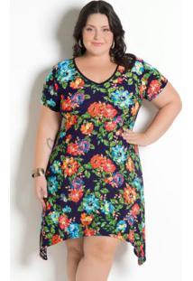 Vestido Com Pontas Plus Size Floral