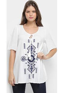 Blusa Queen'S Étnica Feminina - Feminino-Branco
