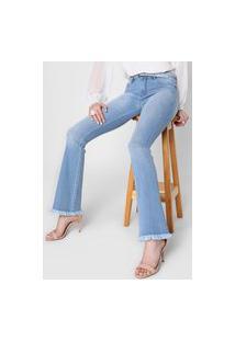 Calça Jeans Lança Perfume Flare Desfiada Azul