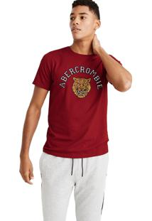 Camiseta Manga Curta Abercrombie Gráfica Vermelha