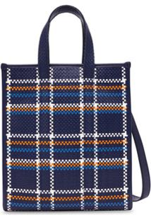 Burberry Woven Leather Check Tote Bag - Azul