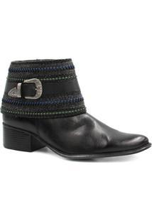 Bota Cano Curto Zariff Shoes Fivela Feminina - Feminino-Preto