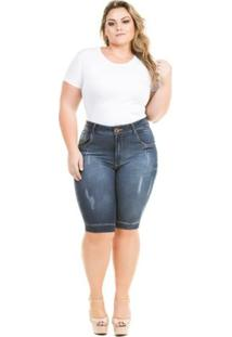 Bermuda Confidencial Extra Plus Size Com Elastano Feminina - Feminino-Azul Escuro