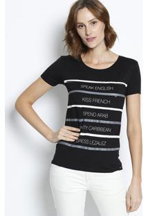 Camiseta Com Lantejoulas- Preta & Brancalez A Lez