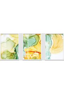 Quadro 60X120Cm Abstrato Âmbar Amarelo E Verde Moldura Branca Sem Vidro Decorativo Interiores
