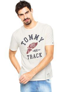 Camiseta Tommy Hilfiger Regular Fit Estampada Bege