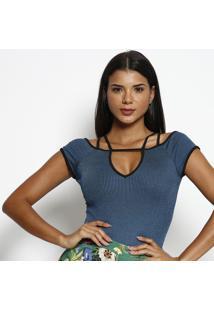Body Canelado Com Tiras- Azul & Preto- Miss Bellamiss Bella