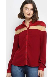 Camisa Em Suede Forum Com Tule Manga Longa - Feminino-Vinho