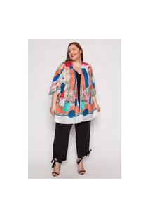 Kimono Almaria Plus Size Kayla Lisboa Estampado Azul