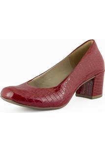 Sapato Scarpin Feminino Casual Salto Grosso Mã©Dio - Vermelho - Feminino - Dafiti