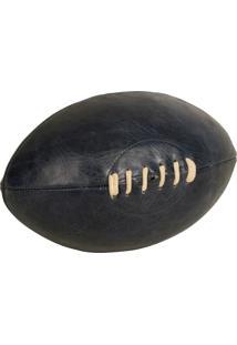 Bola De Rugby Decorativa De Couro Azul