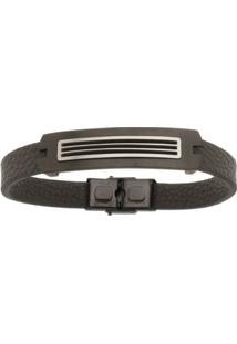 Bracelete De Aço Inox Black Tudo Joias Com 13Mm De Largura - Unissex