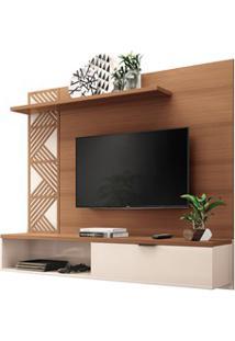 Painel Bancada Suspensa Para Tv Até 50 Pol. Grid Nature/Off White Hb