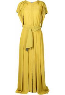 Baruni Vestido Com Cinto E Acabamento Desfiado - Amarelo