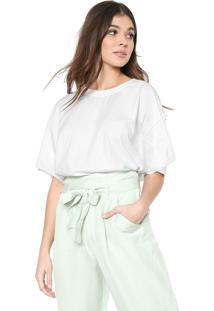 Camiseta Cropped Linho Colcci Lisa Branca