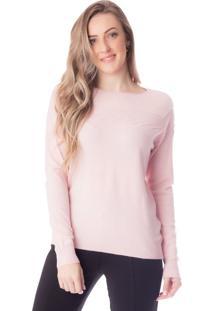 Blusa Feminina Em Malha Mochine Rosa Claro - P