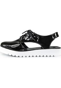 Sapato Vegano Shoes Oxford Aberto Reptans Verniz Preto
