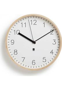 Relógio De Parede Ou Mesa Rimwood Madeira 25,4 Cm Branco Umbra