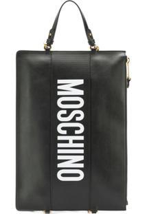 Moschino Bolsa Clutch De Couro Com Logo - Preto