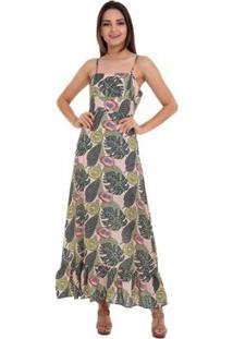 Vestido Longo Estampado Amarração Nas Costas - Feminino-Marrom+Verde Limão