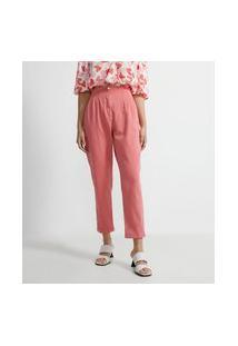 Calça Cintura Alta Em Sarja Com Pregas E Bolsos | A-Collection | Rosa | 36