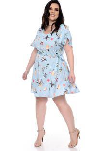 b0e34d941 Chic e Elegante. Vestido Azul Frutas Plus Size