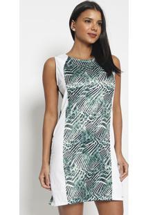 Vestido Acetinado Com Recortes- Verde & Brancovip Reserva
