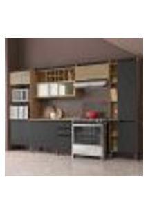 Cozinha Completa Hibisco 9 Pt 3 Gv Aveiro E Grafite 330Cm
