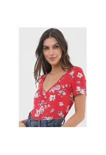 Blusa Marialícia Estampada Vermelha