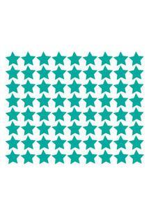 Adesivo De Parede Estrelas Azul Turquesa 54Un..