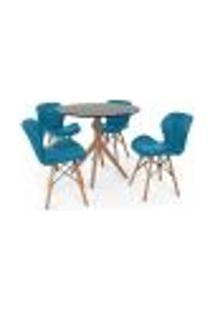 Conjunto Mesa De Jantar Maitê 80Cm Preta Com 4 Cadeiras Eames Eiffel Slim - Turquesa