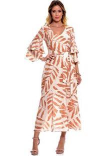 Vestido Bisô Midi Estampado Feminino - Feminino-Caramelo