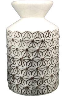 Vaso Kasa Ideia De Cerâmica Texturizado Branco