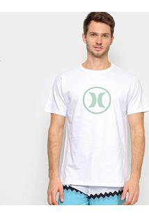 Camiseta Hurley Silk Circle Icon Masculina - Masculino-Branco