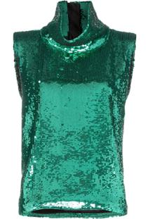 Halpern Blusa Com Paetês - Verde