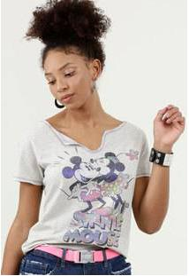 Blusa Feminina Estampa Mickey E Minnie Manga Curta Disney