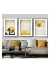 Quadro 60X120Cm Abstrato Nórdico Sol De Sigel Moldura Preta Com Vidro Decorativo Interiores