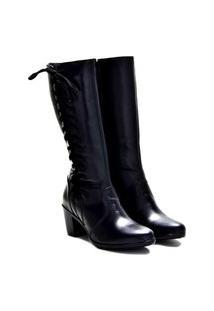 Bota Montaria Atron Shoes Feminina Couro Macia Dia A Dia Café 33 Preto