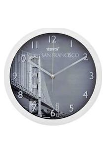 Relógio De Parede - Redondo Foto De Cidades - 30Cm Branco