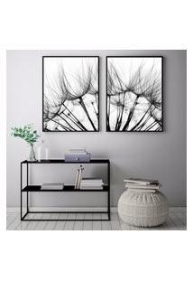 Quadro Oppen House 70X100Cm Flores Folhas Dente De Leáo Sementes Decorativo Interiores Sala De Estar Quartos Moldura Preta Com Vidro