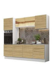 Cozinha Completa Madesa Lux 240002 Com Armário E Balcão Branco/Carvalho Branco