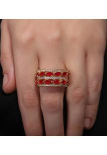 Anel Rosa Pinhal Aros Cravejado Em Zircônia E Cristal Gota Vermelho Rubi
