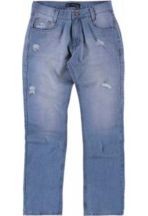 Calça Jeans Claro Destroyed