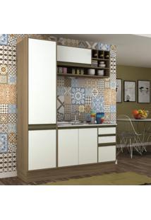 Cozinha Compacta 3 Peças 5 Portas Safira Siena Móveis Avelã Tx/Branco Tx