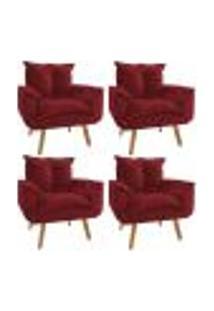 Conjunto 4 Poltronas Decorativa Opala Plus Suede Vermelho