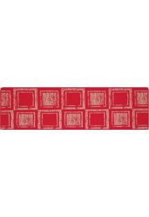 Tapete Sisllê Geométrico Cubes Retangular Polipropileno (66X230) Vermelho
