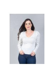 Blusa Charme Tricot Manga Bufante Branco