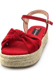 Salomé Espadrille Love Shoes Anabela Plataforma Corda Nó Vermelho