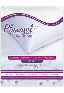 Capa De Travesseiro Impermeável Percal 180 Fios 50X70Cm Branco Plumasul